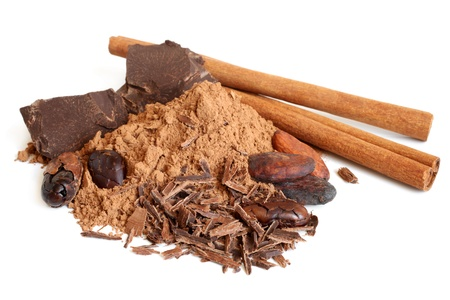 Cacao beans, cacao powder, cinnamon bark and chocolate on a white background  photo