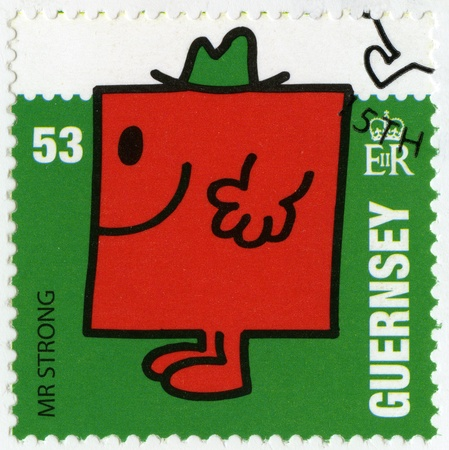 mr: GUERNSEY - CIRCA 2008: A stamp printed in Guernsey shows mr greedy, illustration Mr Men & Little Miss, circa 2008 Editorial