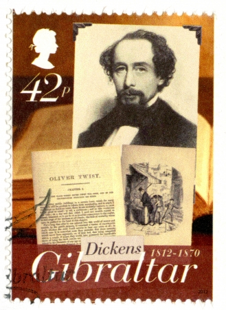 dickens: GIBRALTAR - CIRCA 2005 : A stamp printed in Gibraltar shows Charles Dickens (1812-1870), Oliver Twist, 200th anniversary of Charles Dickens, circa 2012, circa 2005