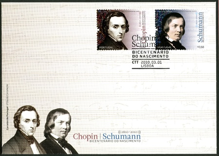 virtuoso: PORTUGAL - CIRCA 2010: A stamp printed by Portugal dedicated Robert Schumann(1840-1893) and Fryderyk Franciszek Chopin (1810-1849), composer and virtuoso pianist, circa 2010 Editorial