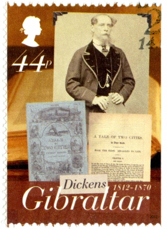 dickens: GIBRALTAR - CIRCA 2005 : A stamp printed in Gibraltar shows Charles Dickens (1812-1870), a tale of two cities,, 200th anniversary of Charles Dickens, circa 2012, circa 2005 Editorial