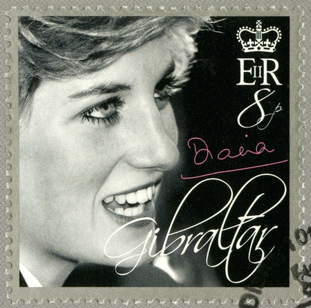 lady diana: GIBRALTAR - CIRCA 2007 : A stamp printed in Gibraltar shows Diana (1981-1997), Princess of Wales Tribute, circa 2007