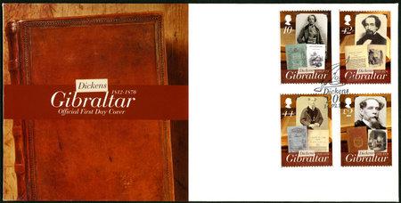 britan: GIBRALTAR - CIRCA 2012 : A stamp printed in Gibraltar shows Charles Dickens (1812-1870), 200th anniversary of Charles Dickens, circa 2012