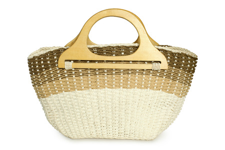 dolly bag: Straw beach basket on a white background