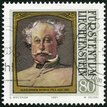 dramatist: LIECHTENSTEIN - CIRCA 1981: A stamp printed in liechtenstein shows portraits of Alexander Dumas (fils) (1824-1895), series Famous Visitors to Liechtenstein (Paintings), circa 1981