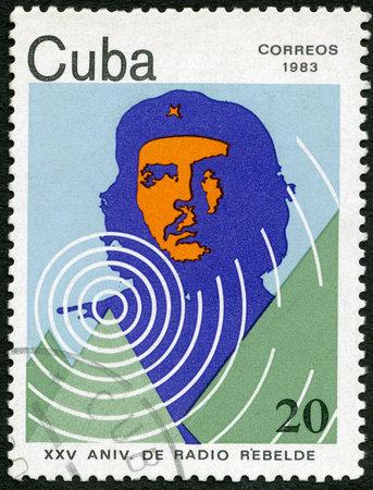 che guevara: CUBA - CIRCA 1983: A stamp printed in CUBA shows portrait of Ernesto Guevara de la Serna (Che Guevara), 25th Anniversary of Radio Rebelde, circa 1983