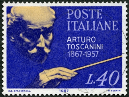 arturo: ITALY - CIRCA 1967: A stamp printed in Italy shows Arturo Toscanini (1867-1975), Italian Conductor, circa 1967 Editorial