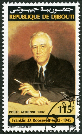roosevelt: DJIBOUTI - CIRCA 1982: A stamp printed in Republic of Djibouti shows Franklin D. Roosevelt (1882-1945), circa 1982