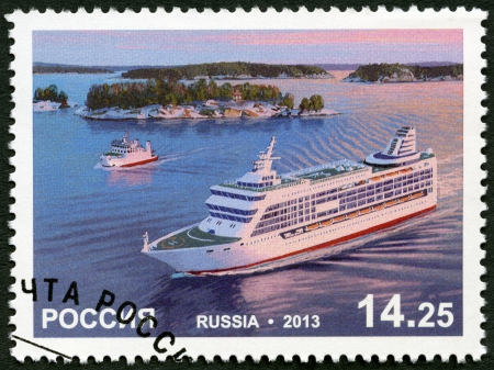 spl: RUSSIA - CIRCA 2013: A stamp printed in Russia shows Passenger Ferry Princess Anastasia, Passenger Ferries Ship Boat Joint issue with Aland (Finland), circa 2013