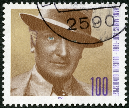 movie star: GERMANY - CIRCA 1991: A stamp printed in Germany shows Hans Albers (1891-1960), actor, circa 1991