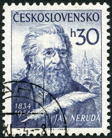 CZECHOSLOVAKIA - CIRCA 1954: A stamp printed in Czechoslovakia shows Jan Neruda (1834-1891), circa 1954 Stock Photo - 22540980
