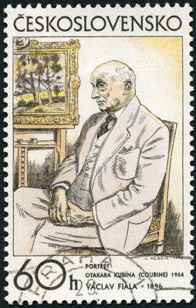 czechoslovakia: CZECHOSLOVAKIA - CIRCA 1972: A stamp printed in Czechoslovakia shows Portrait of Otakar Kubin, 1962 by Vaclav Fiala, from series Czech and Slovak graphic art, circa 1972