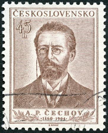 czechoslovakia: CZECHOSLOVAKIA - CIRCA 1954: A stamp printed in Czechoslovakia shows Anton Pavlovich Chekhov (1860-1904), circa 1954