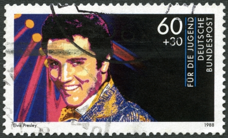 GERMANY - CIRCA 1988: A stamp printed in Germany shows Elvis Presley (1935-1977), series Rock Stars, circa 1988