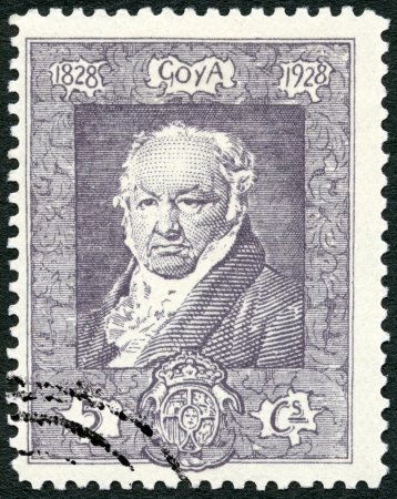 engraver: SPAIN - 1930: shows Francisco Jose de Goya y Lucientes (1746-1828), painter and engraver Editorial