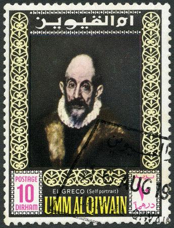 greco: UMM AL QIWAIN - CIRCA 1967: A stamp printed in Umm al Qiwain shows a self-portrait of El Greco, circa 1967