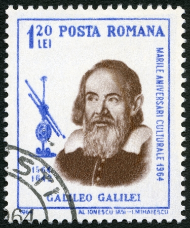 ROMANIA - CIRCA 1964: A stamp printed by Romania shows Galileo Galilei (1564-1642), issued for the 400th birth anniversary, circa 1964 Stock Photo - 22716630