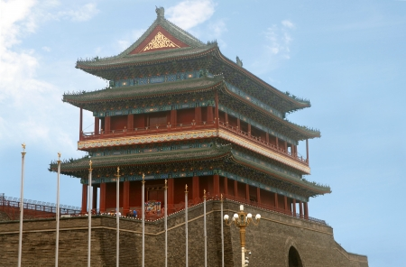 The Zhengyangmen Gatehouse commonly know as Qianmen in Dongcheng District, Beijing, China Stock Photo - 23028424