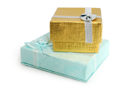 Gift boxes with ribbon on white background Stock Photo - 23028427