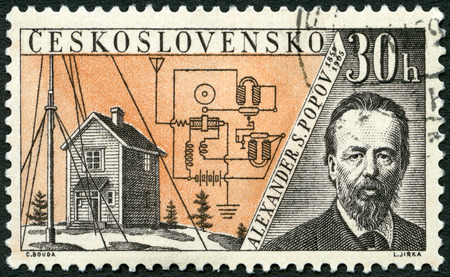 issued: CZECHOSLOVAKIA - CIRCA 1959: A stamp printed in Czechoslovakia shows Alexander S. Popov (1859-1905), Issued to honor inventors in the fields of telegraphy and radio, circa 1959