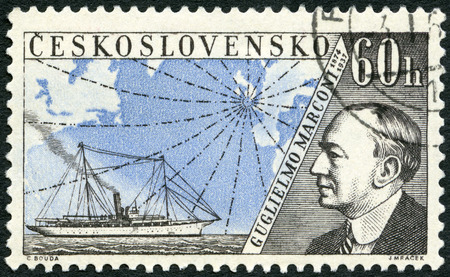 telegraphy: CZECHOSLOVAKIA - CIRCA 1959: A stamp printed in Czechoslovakia shows Guglielmo Marconi (1874-1937), Issued to honor inventors in the fields of telegraphy and radio, circa 1959