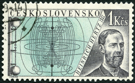 hertz: CZECHOSLOVAKIA - CIRCA 1959: A stamp printed in Czechoslovakia shows Heinrich Hertz (1857-1894), Issued to honor inventors in the fields of telegraphy and radio, circa 1959 Editorial