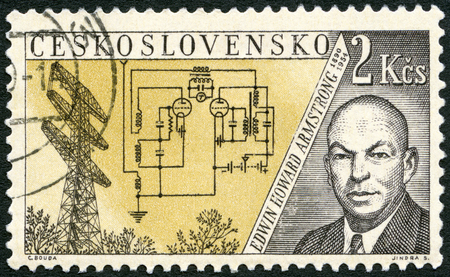 issued: CZECHOSLOVAKIA - CIRCA 1959: A stamp printed in Czechoslovakia shows Edwin Howard Armstrong (1890-1954) and research tower, Alpine, N. J., Issued to honor inventors in the fields of telegraphy and radio, circa 1959