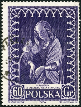 POLAND - CIRCA 1956: A stamp printed in Poland shows Madonna by Veit Stoss, circa 1956