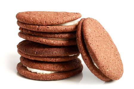 Stack of cookies with cream on a white background Stock Photo - 23032292