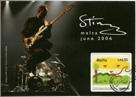 philanthropist: MALTA - CIRCA 2006: A stamp printed in Malta shows Sting, Gordon Matthew Thomas Sumner, an English musician, a singer, circa 2006
