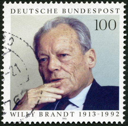 brandt: GERMANY - CIRCA 1993: A stamp printed in Germany shows Willy Brandt (1913-1992), Statesman, circa 1993