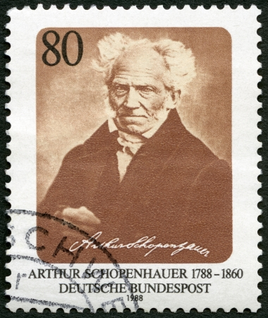 GERMANY - CIRCA 1988: A stamp printed in Germany shows Arthur Schopenhauer (1788-1860), philosopher, circa 1988 Stock Photo - 22948296