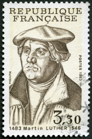 FRANCE - CIRCA 1983: A stamp printed in France shows Martin Luther (1483-1546), circa 1983  Stock Photo - 23004078