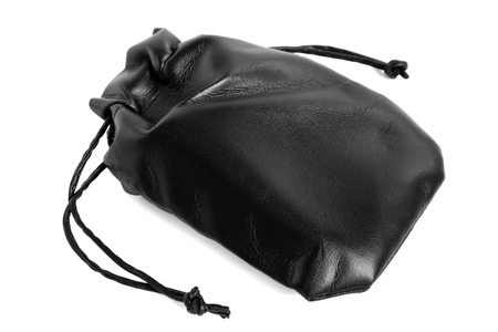 Black leather pouch on a white background Stock Photo - 23283380