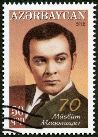 AZERBAIJAN - CIRCA 2012: A stamp printed in Azerbaijan shows Muslim Magomayev (1942-2008), circa 2012 Stock Photo - 23155962