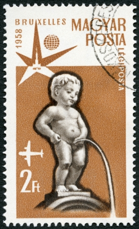 HUNGARY - CIRCA 1958: A stamp printed in Hungary shows Manneken Pis, Fountain, Brussels, circa 1958 Stock Photo - 23141077
