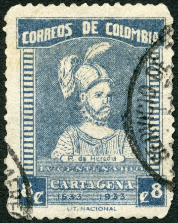COLOMBIA - CIRCA 1933: A stamp printed in Colombia shows Pedro de Heredia (circa 1505-1554), circa 1933 Stock Photo - 23189249