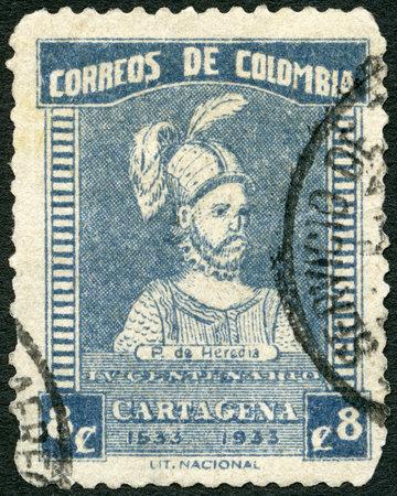 COLOMBIA - CIRCA 1933: A stamp printed in Colombia shows Pedro de Heredia (circa 1505-1554), circa 1933 Stock Photo - 23189249