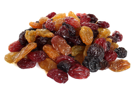 Raisins on a white background