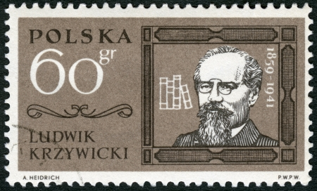 anthropologist: POLAND - CIRCA 1963: A stamp printed in Poland shows Ludwik Krzywicki (1859-1941), circa 1963