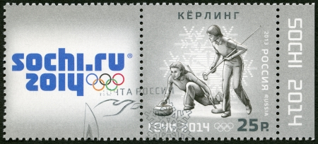 olympiad: RUSSIA - CIRCA 2013: A stamp printed in Russia shows XXII Olympic Winter Games in Sochi 2014, Olympic winter Sports, curling, circa 2013
