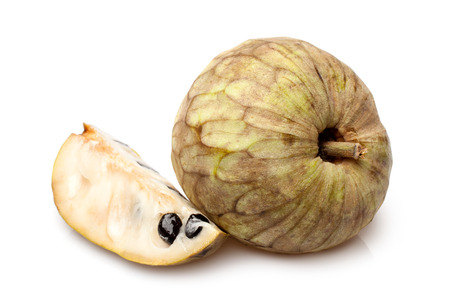 annona: Cherimoya fruit (Annona cherimola) on a white background