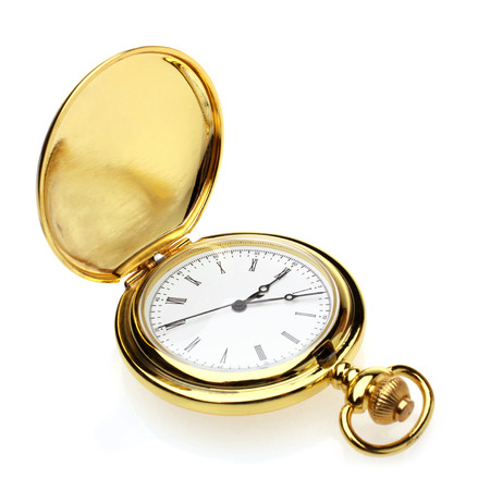 gold watch: Pocket watch on a white background