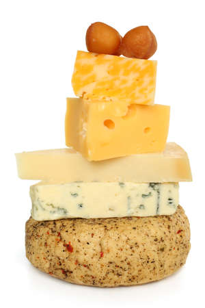 tower block: Various types of cheese on white background