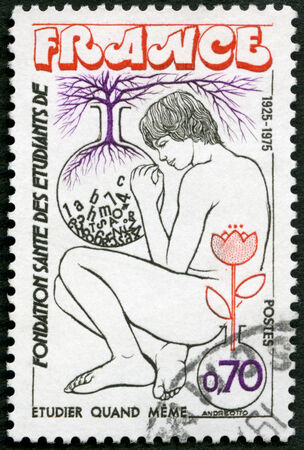 foundation problems: FRANCE - CIRCA 1975: A stamp printed in France shows Youth and Flasks, Symbols of Study and Growth, Student Health Foundation, circa 1975 Editorial