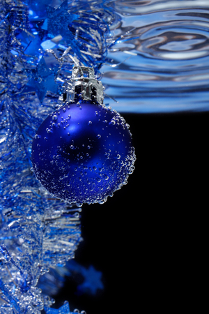Blue christmas card, a vertical picture  photo