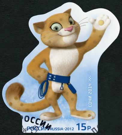 Russland - CIRCA 2012: Eine Briefmarke gedruckt in Russland zeigt der Mascot XXII Olympischen Spiele in Sotschi 2014 - Leopard, circa 2012 Standard-Bild - 23919500