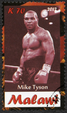 Malawi - CIRCA 2012: A stamp printed in Malawi shows Mike Tyson, circa 2012
