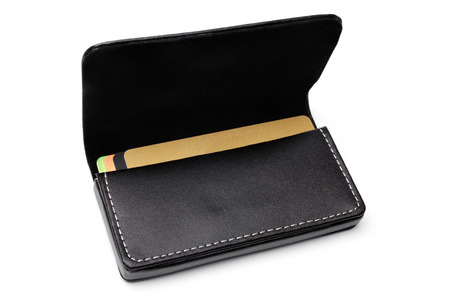 business case: Leather visiting card holder on white background