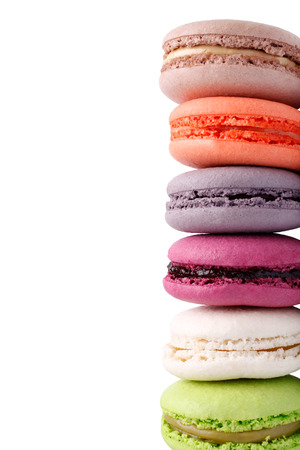Colorful french macaroons isolated on white  photo